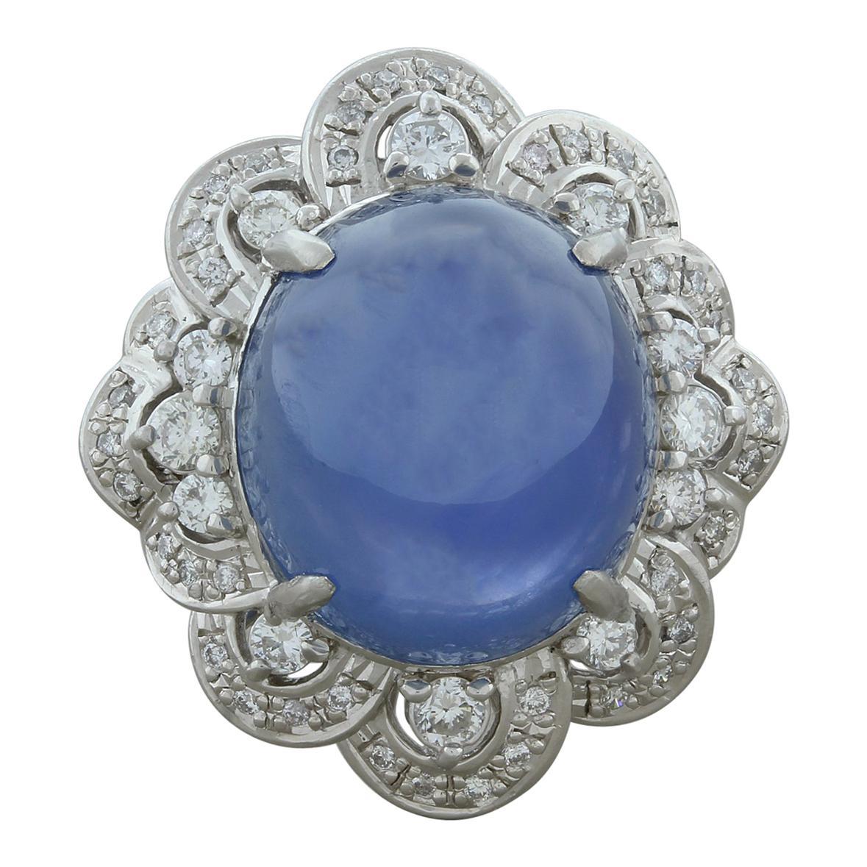 Large Star Sapphire Diamond Platinum Ring, GIA Certified