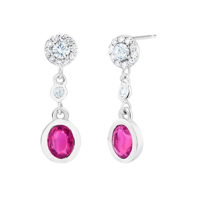Pink Sapphire and Diamond Gold Drop Earrings For Sale