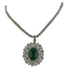 15.03 Carat Emerald Cabochon and Diamond Pendant Necklace
