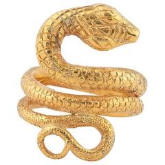 Large Antique 18 Karat Gold Snake Ring