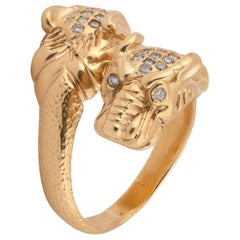 Gucci Vintage Gold and Diamond Crossover Tiger Ring