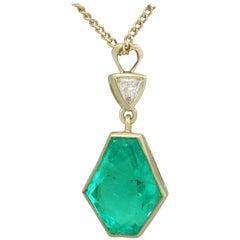 1990s Emerald and Diamond Yellow Gold Pendant