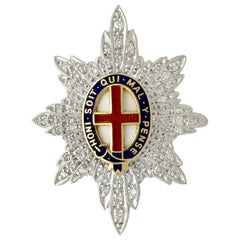 1970s Diamond and White Gold 'Coldstream Guards' Sweetheart Brooch