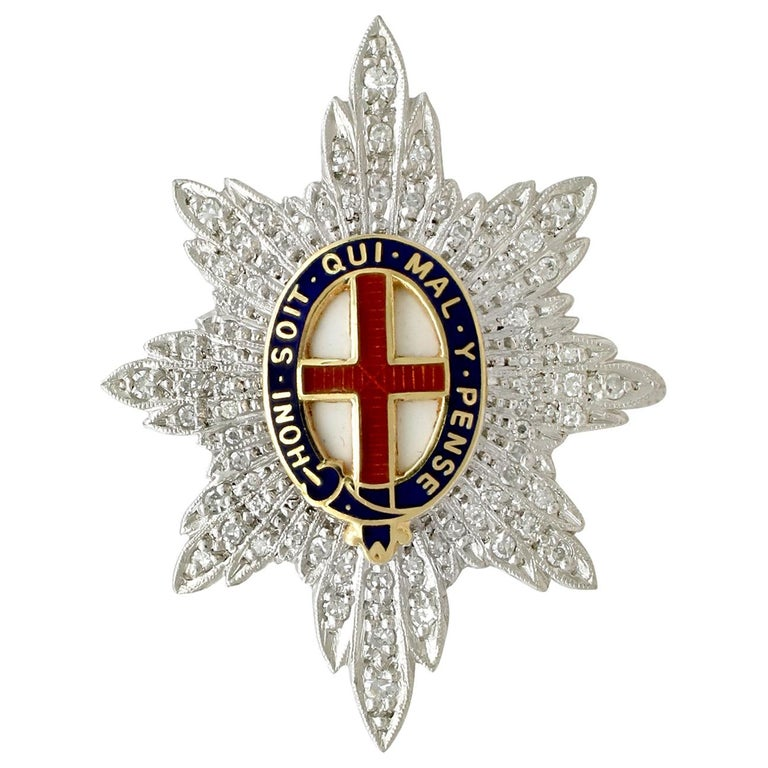 1970s Diamond and White Gold 'Coldstream Guards' Sweetheart Brooch  For Sale