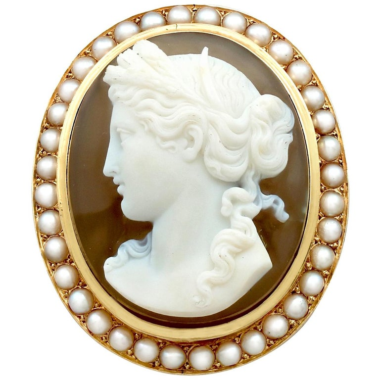 Antique French Agate and Seed Pearl Yellow Gold Cameo Brooch  For Sale