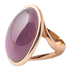 Pink Gold Ring Surmounted by a Natural Amethyste and Nacre Shape Cabochon