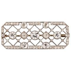 4.40 Carat French Art Deco Diamond Brooch