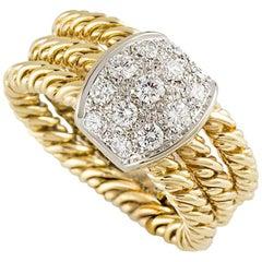 Pomellato Diamond and Rope Gold Ring .89 Carat