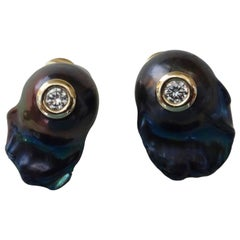 Michael Kneebone Black Baroque Peacock Pearl White Diamond Stud Earrings