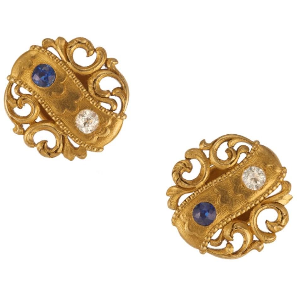 Tiffany & Co. Antique Diamond and Sapphire Cuff-Links