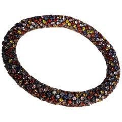 34.5 Carat Sapphire 0,40 Carat Diamond White Gold Flexible Bracelet