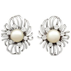 Cultured Pearl Diamond White Gold Stud Earrings, Vintage