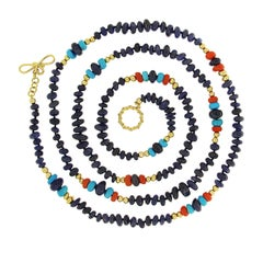 Valentin Magro Sapphire Coral and Turquoise Necklace