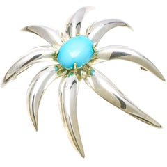 Tiffany & Co. 18 Karat Gold Sterling Silver Fireworks Persian Turquoise Brooch