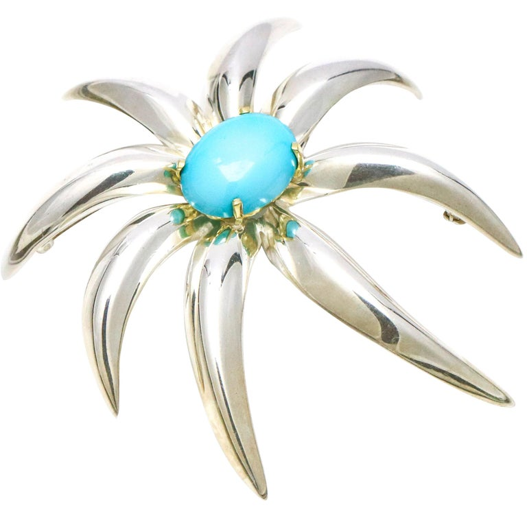 Tiffany & Co. 18 Karat Gold Sterling Silver Fireworks Persian Turquoise Brooch For Sale