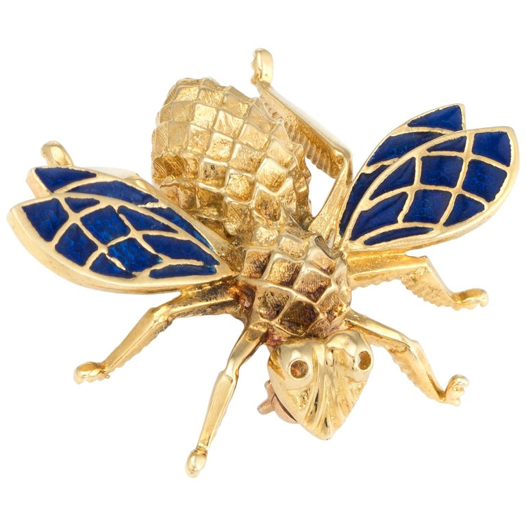 Vintage Bumble Bee Brooch Pin 14 Karat Gold Blue Enamel Wings Estate Jewelry For Sale