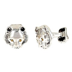 Tsavorites Sterling Silver Tiger Head Cufflinks by John Landrum Bryant