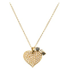 Bespoke 18 Karat Yellow Gold Diamond Heart Long Necklace