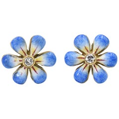Blue Enamel Daisy Diamond Gold Earrings by Sandra J. Sensations