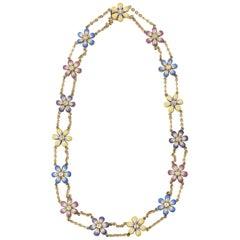Enamel and Diamond Daisy Flower Gold Necklace by Sandra J Sensations