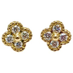 Vintage Van Cleef & Arpels Alhambra Diamond and 18 Karat Yellow Gold Earrings
