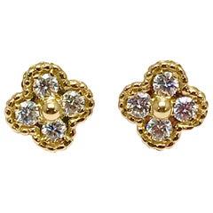 Vintage Van Cleef & Arpels Alhambra Diamond and 18 Karat Yellow Gold Earrings