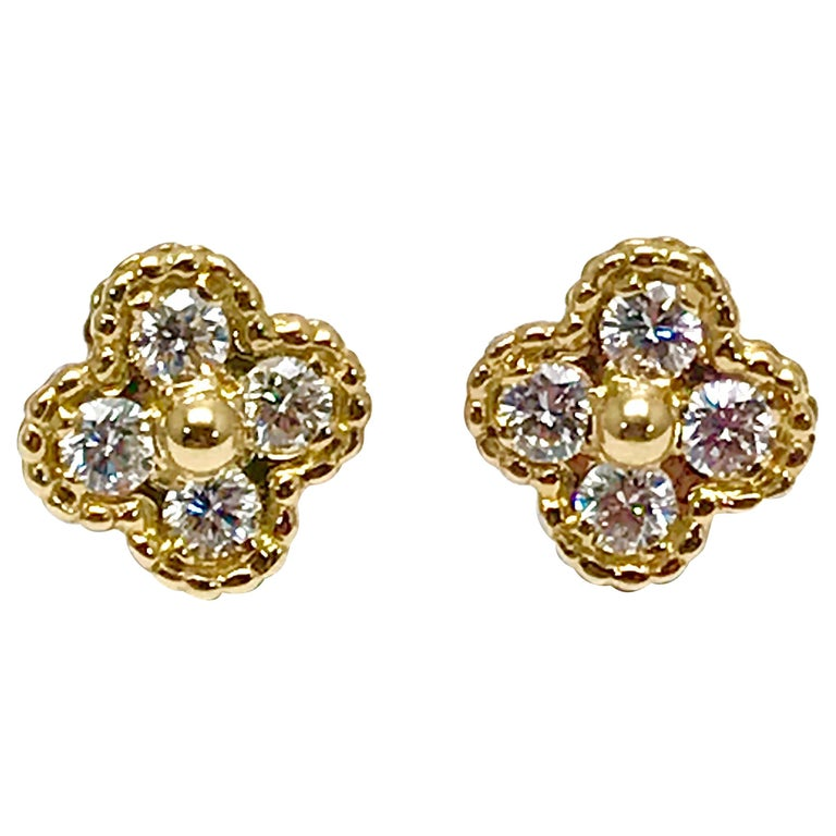 Vintage Van Cleef & Arpels Alhambra Diamond and 18 Karat Yellow Gold Earrings For Sale