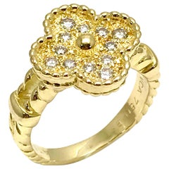 Vintage Van Cleef & Arpels Alhombra Diamond and 18 Karat Yellow Gold Ring
