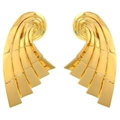 Valentin Magro Gold Swirling Basket Earrings