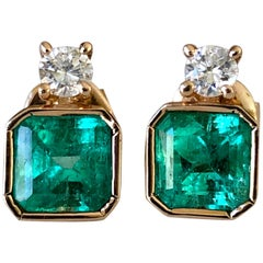 4.00 Carat Square Colombian Emerald Diamond Stud Earrings 18 Karat