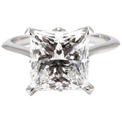 GIA Certified Engagement Ring Set with 4.02 Princess Cut Diamond