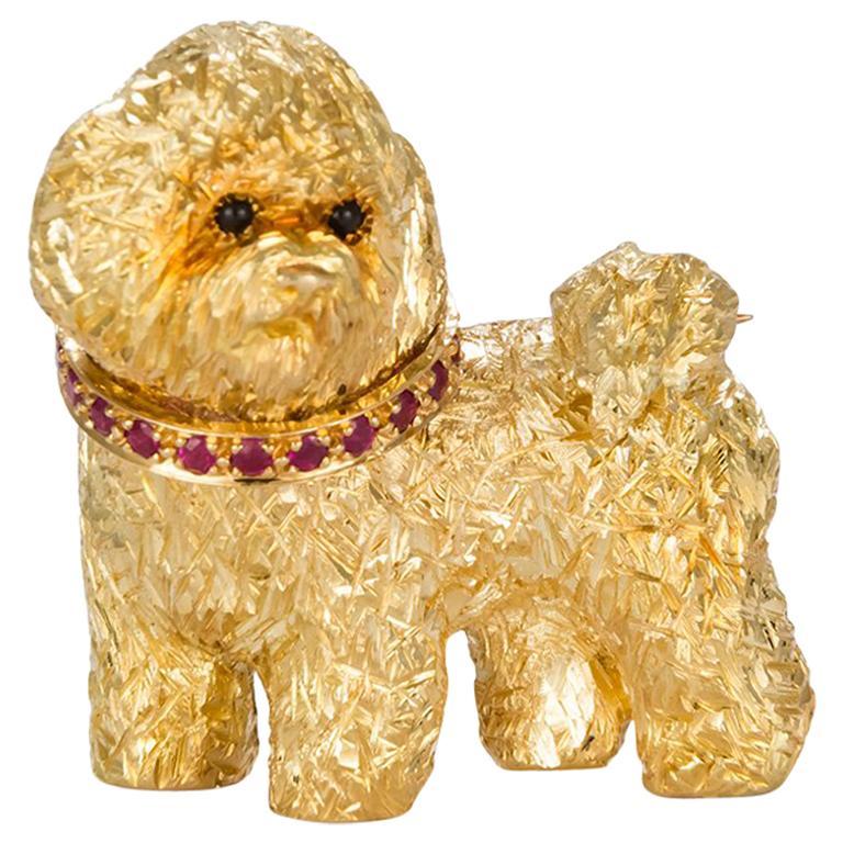 Craig Drake 18 Karat Yellow Gold and Ruby Dog Brooch For Sale