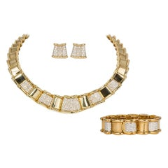 Moboco 18 Karat Yellow Gold and Diamond Ribbon Jewelry Set