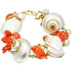 MAZ 18 Karat Yellow Gold Coral Shell Pearl Diamond Charm Bracelet