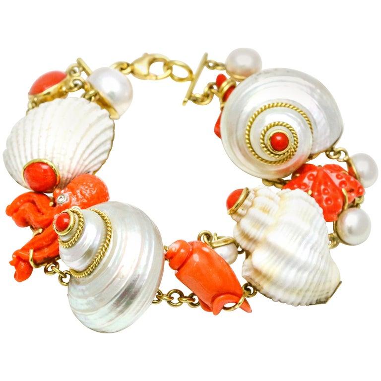 MAZ 18 Karat Yellow Gold Coral Shell Pearl Diamond Charm Bracelet For Sale