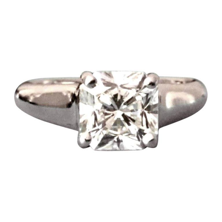 266aa36e21573 Tiffany & Co. Cushion Cut Platinum and Diamond Ring 1.10 Carat H VVS1