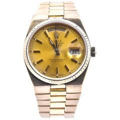 Vintage Rolex 18 Karat Yellow Gold Flat Link President Watch Ref. 19018