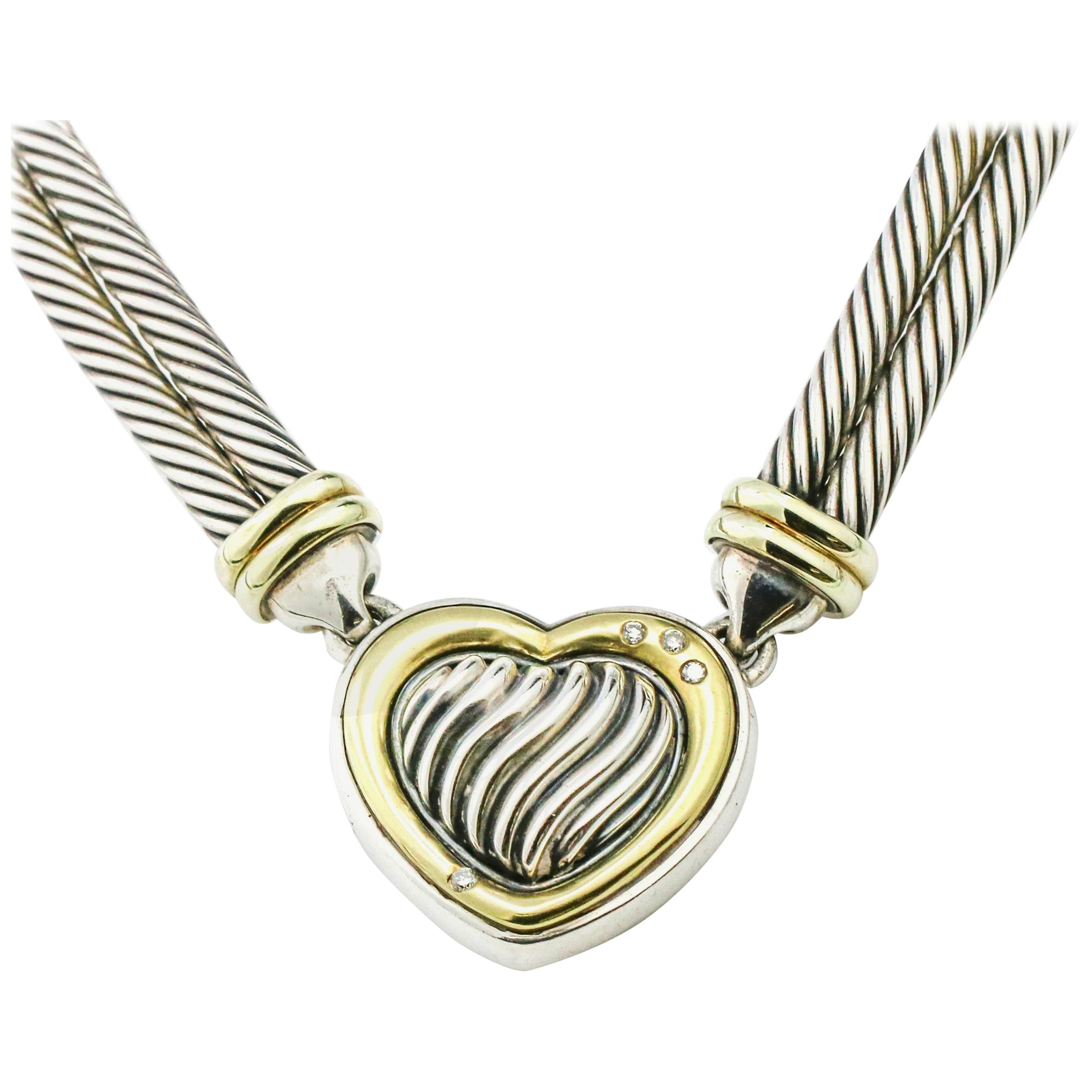 9627729e57be David Yurman Metro Cable Heart Necklace with Diamonds For Sale at 1stdibs