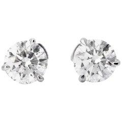 2.43 Carat White Diamond Stud Earrings in 14 Karat White Gold