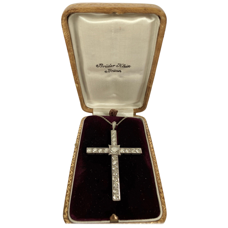 Antique Platinum Diamond Cross Pendant