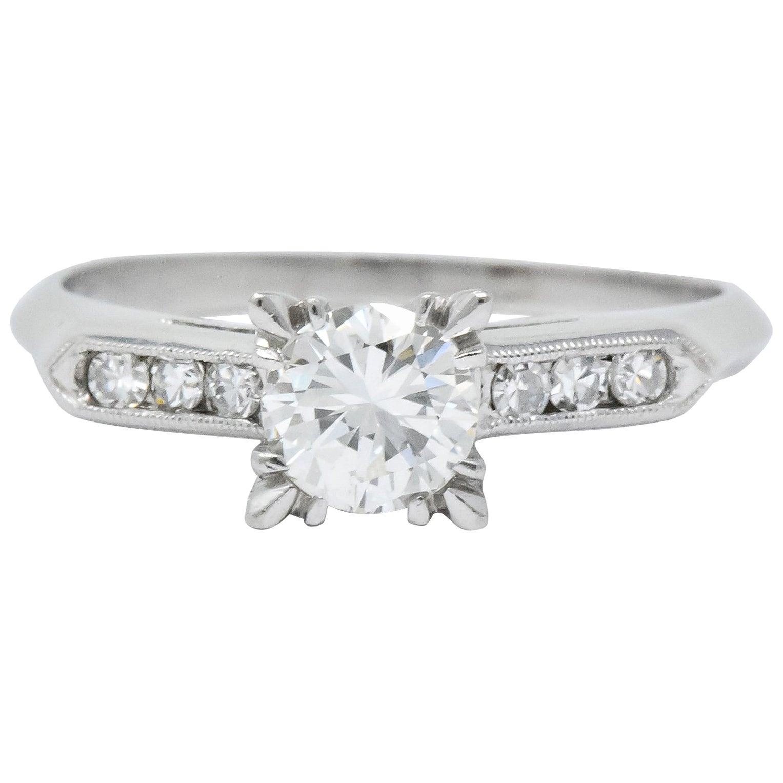 Retro 1.08 Carat Round Brilliant Cut Diamond Platinum Engagement Ring