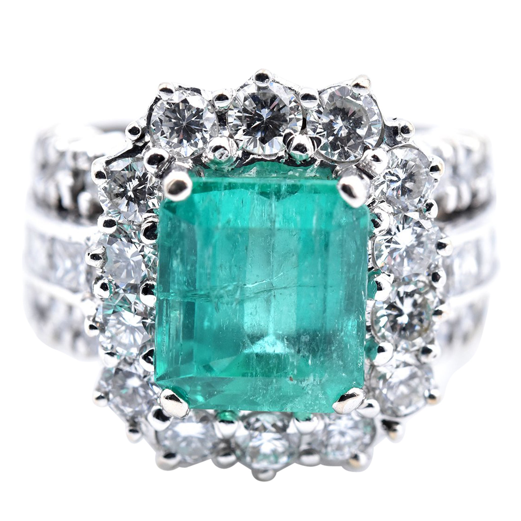 6926defd7a5ee 18 Karat White Gold Petros & Takis Emerald and Diamond Ring