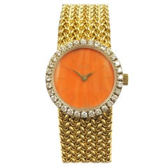 Piaget Yellow Gold Diamond and Coral Dial Ladies Mechanical Wristwatch