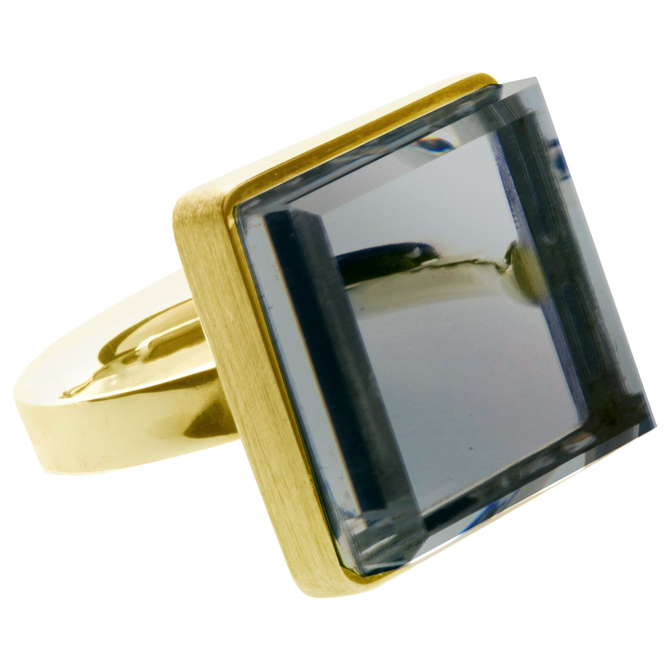 Yellow Gold Artisan Ring with Light Blue Quartz, Featured in Vogue
