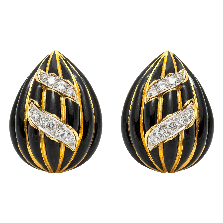 David Webb Onyx Diamond Earrings
