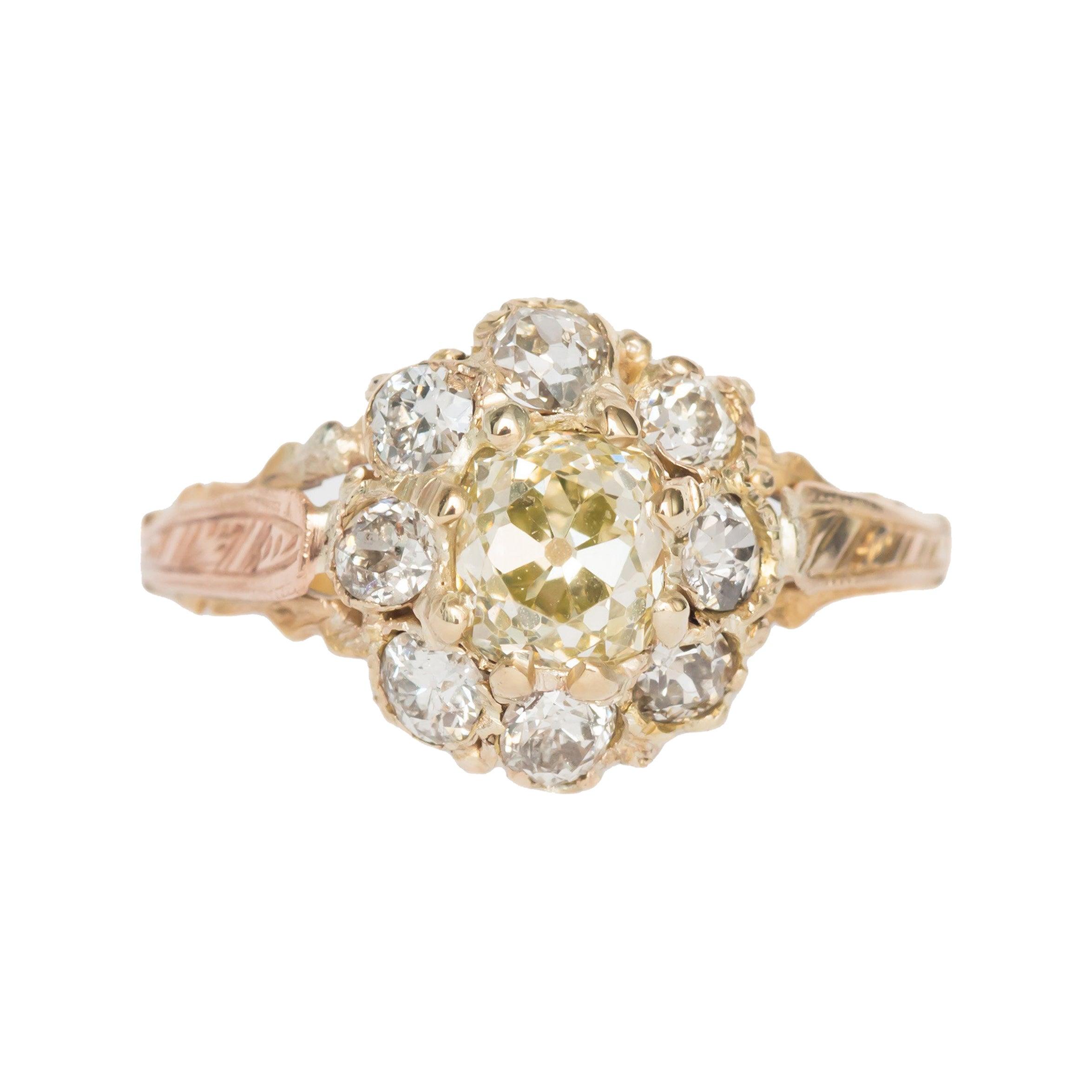 .85 Carat Diamond Yellow Gold Engagement Ring