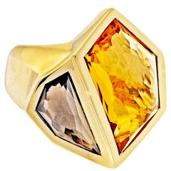 Allia 10.80 Carat Citrine Smoky Quartz Gold Cocktail Ring