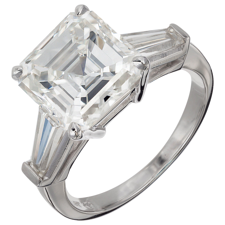 Peter Suchy 4.41 Carat Diamond Three-Stone Platinum Engagement Ring