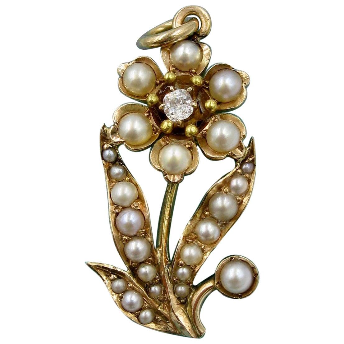 Victorian Diamond Pearl Flower Pendant Necklace Gold Belle Époque