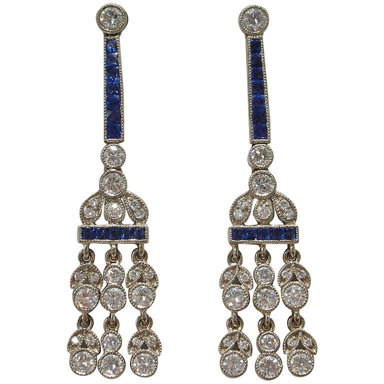 Jona White Diamond Sapphire Platinum Chandelier Earrings